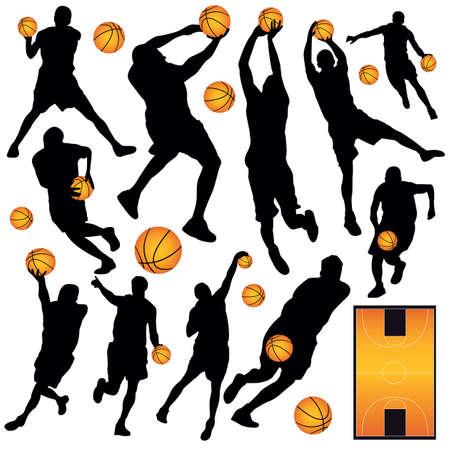 バスケット ボールのシルエットをベクターします。  イラスト・ベクター素材
