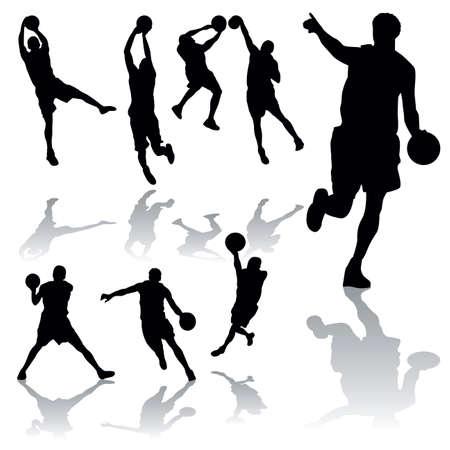 vector basketball silhouettes Stock Vector - 6180145
