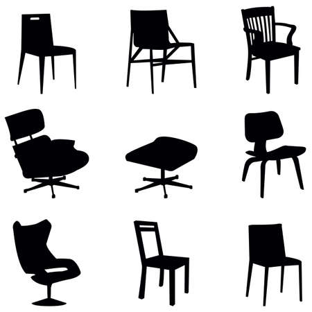 midcentury: vector collection of chairs