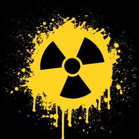 worn sign:  icono de radiactividad Vectores