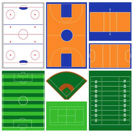 courts: vector sport fields Illustration