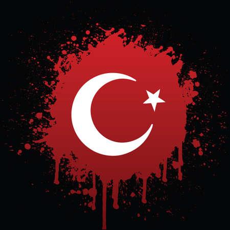 drapeau turc en rouge éclaboussures