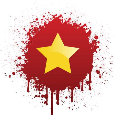 vietnam flag in red spatter
