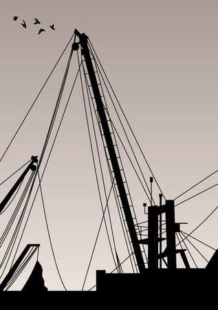 日没時の漁船