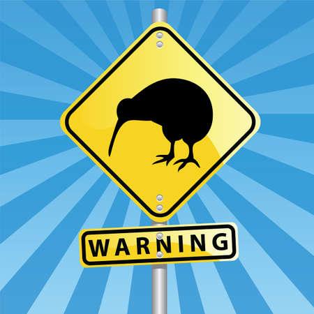 kiwi road sign Stock Vector - 6401470