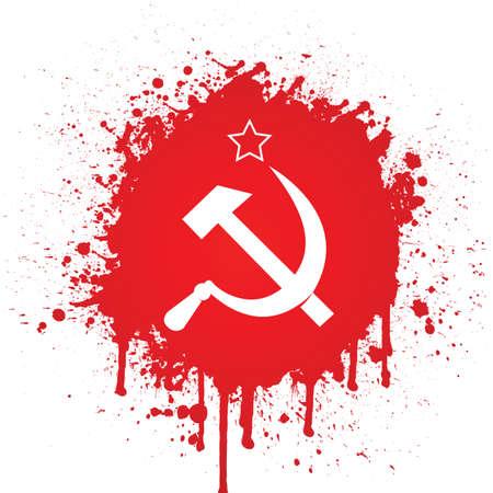 赤いスパッタでのソ連の旗