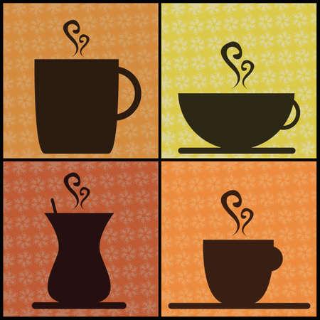 コーヒーと紅茶のカップ
