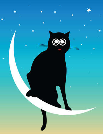 cat at the moon Stock Vector - 6802809