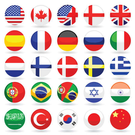 danish flag: web language icon set