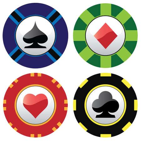 fichas de juegos de azar  Ilustración de vector