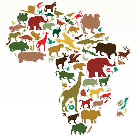 map of africa: animals of africa