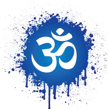 hindu god: ohm in blue spatter
