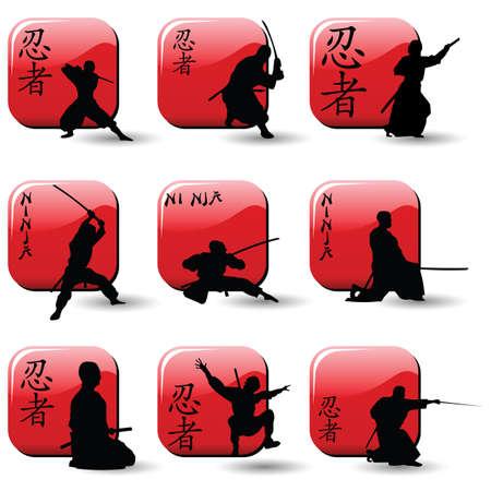 Ninjas  Stock Illustratie