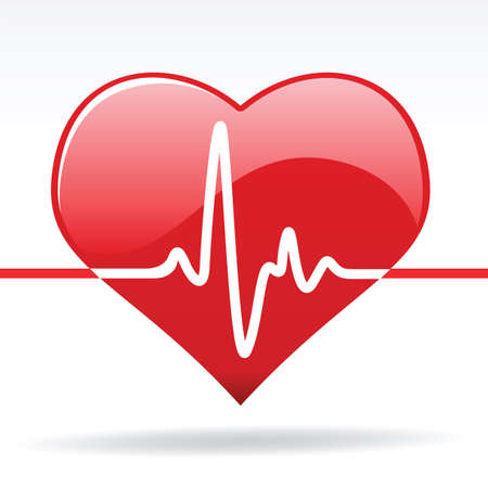 heart beat: heart with cardiogram