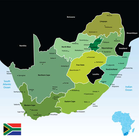 south african:   map of the republic of south africa