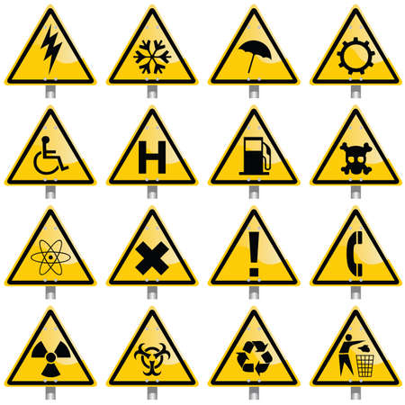 radioisotope:   warning signs Illustration