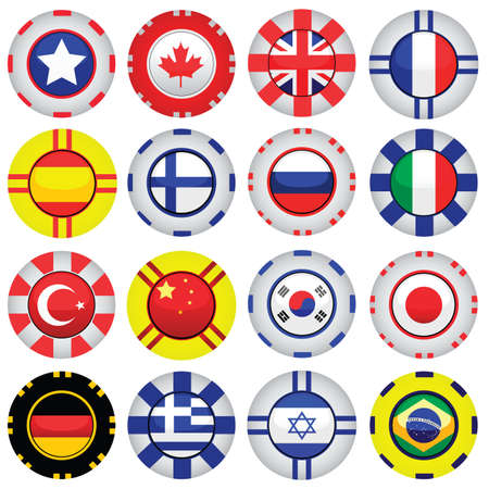 flags on casino chips Vector