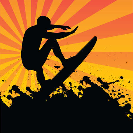 surf silhouettes: surfer Illustration