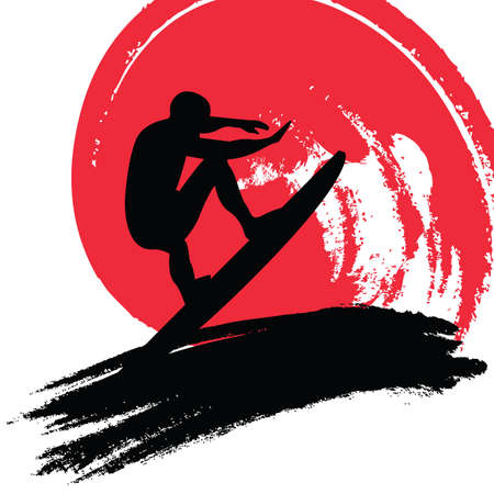 hawaii sunset: surfer Illustration
