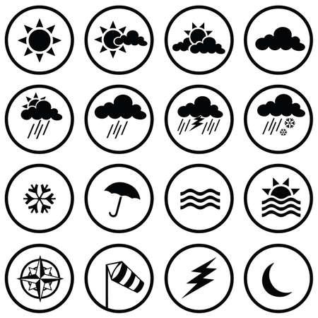 meteo: Icone del tempo  Vettoriali