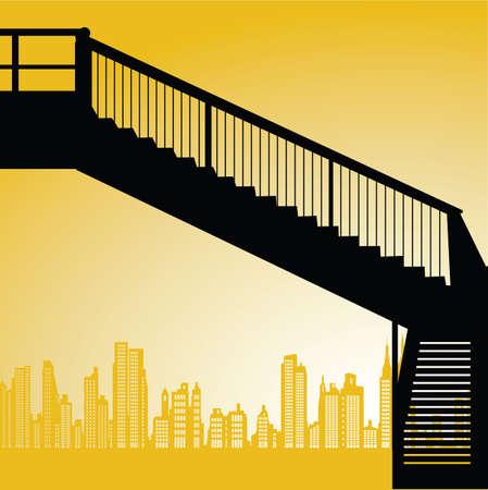 flyover: voetgangersbrug Stock Illustratie