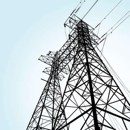 hoogspanningsmasten: transmissie toren Stock Illustratie
