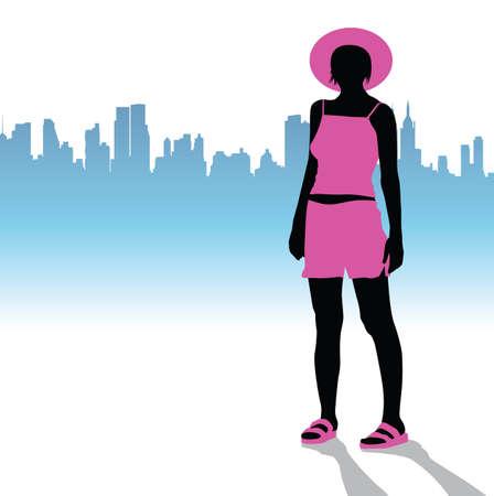 girl in pink dress Stock Vector - 7643814