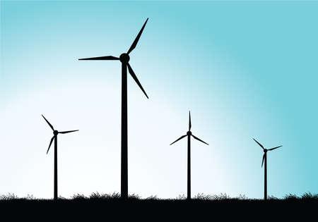 発電機: 風車  イラスト・ベクター素材