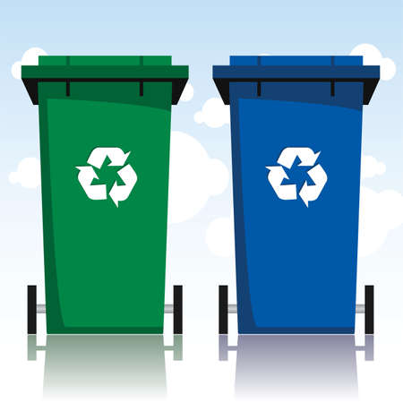 poubelle bleue: recycler les bacs Illustration