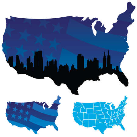 Vector Map of USA Standard-Bild - 7860573