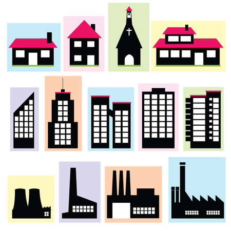 vector set of buildings Illustration