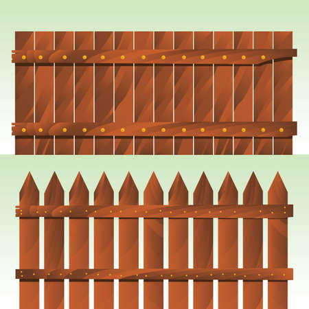 fence panel: wooden fences Illustration