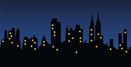 都市景観夜  イラスト・ベクター素材