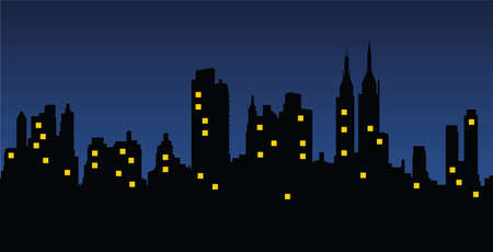 Cityscape by night Stock Illustratie