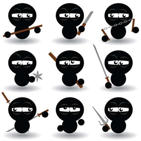 ninja set Vector