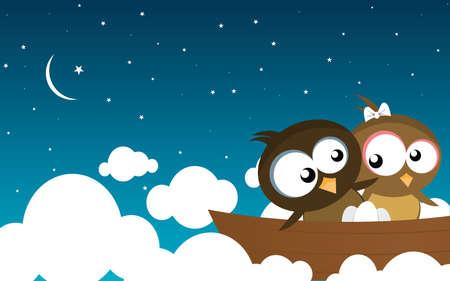 birds on a boat Ilustração