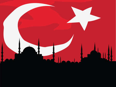 turkish flag: cityscape of istanbul Illustration