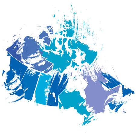 功妙なブラシ ストロークによってカナダの地図