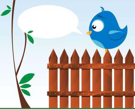 木の塀で鳥