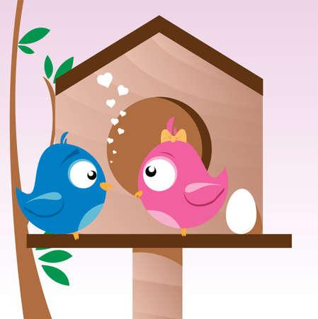 愛の鳥  イラスト・ベクター素材