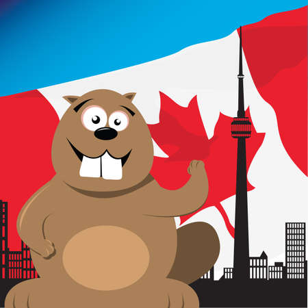 canadian flag: canadian beaver