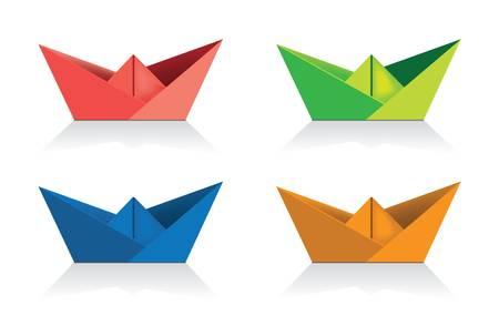 boat race: paper ships Illustration