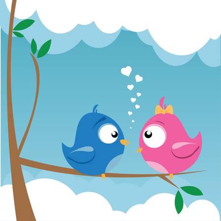birds on a branch Stock Vector - 9312367