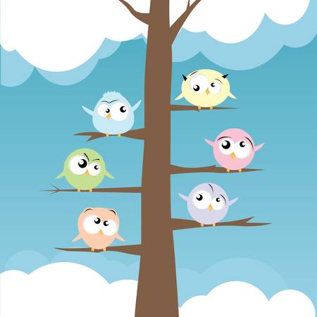twit: birds on branches  Illustration