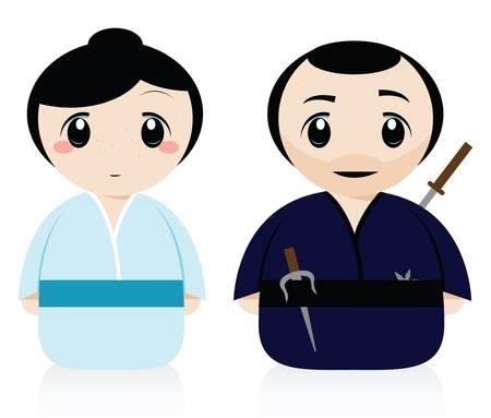 a samurai and a geisha Stock Vector - 9312376