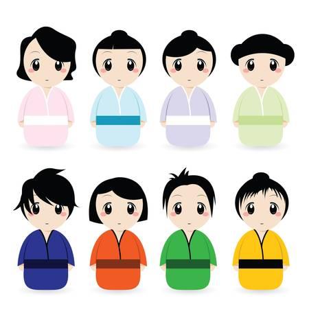 cartoon geisha set Vector