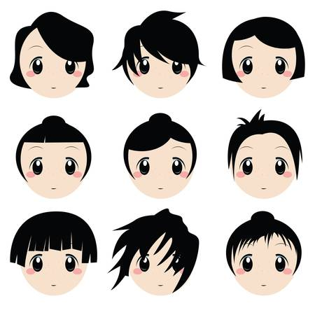 manga girl: cartoon face set
