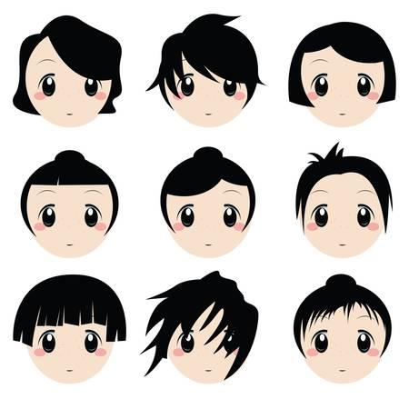 ojos anime: conjunto de cara de dibujos animados Vectores