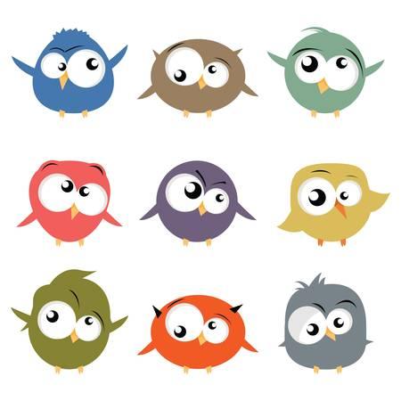 caras chistosas: aves de dibujos animados
