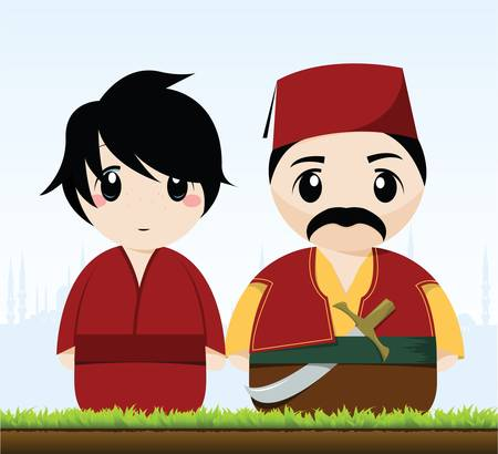 traditional turkish couple Vector